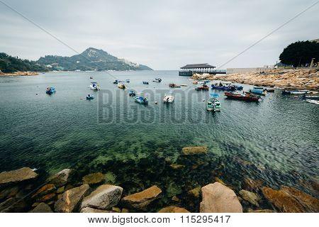 Rocky Coast And Boats At Stanley, On Hong Kong Island, Hong Kong.