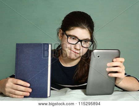 Teenager  Girl Whis   Book And Tablet Pad Computer
