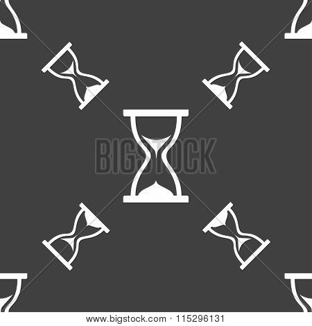 Hourglass Icon Sign. Seamless Pattern On A Gray