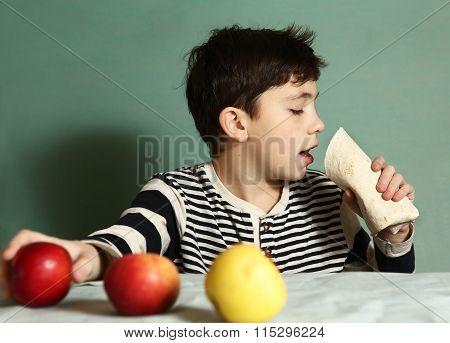 Boy  Eat Fast Food Roll  Refuse  Fresh Apples