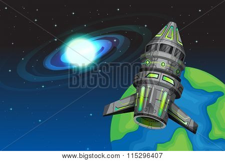 Rocketship flying in the space illustration