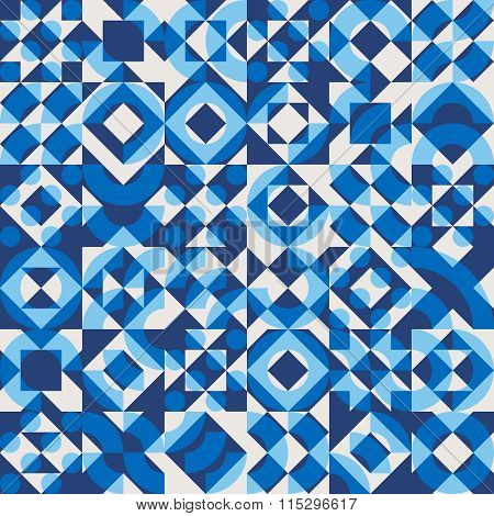 Vector Seamless Navy Blue Color Overlay Irregular Geometric Blocks Square Quilt Pattern