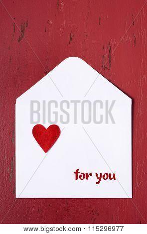 Valentine Letter Envelope On Red Background.