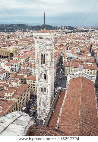 Giotto's Campanile In Florence City, Tuscany, Italy, Vertical Composition