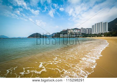 Beach And Skyscrapers At Repulse Bay, In Hong Kong, Hong Kong.
