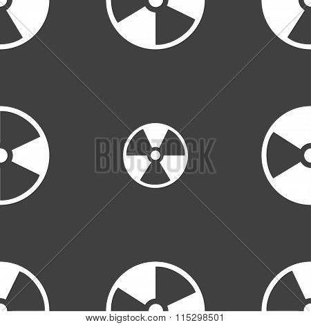 Radioactive Icon Sign. Seamless Pattern On A Gray