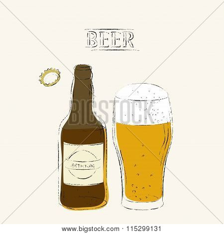 Retro Style Beer Illustration With Open Bottle, Beer Glass