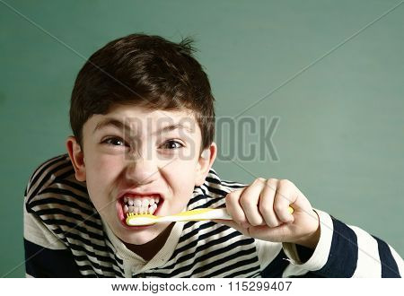 Preteen Handsome Boy Brush Teeth
