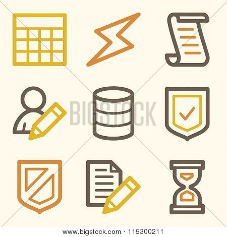 Database web icons, server and storage, script and users, table and firewall, vector stock signs