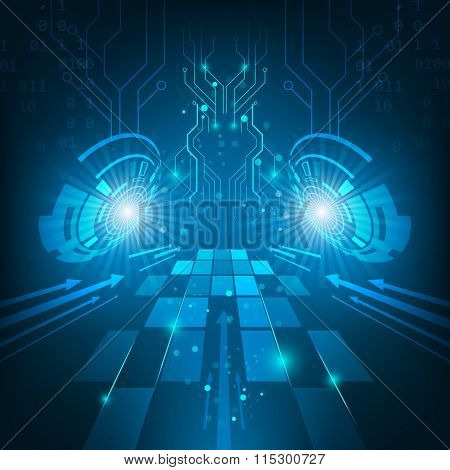 Abstract vector futuristic technology circuit board dark blue background.