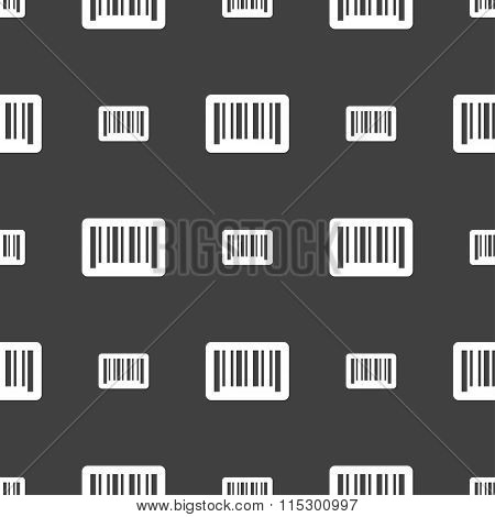 Barcode Icon Sign. Seamless Pattern On A Gray Background.