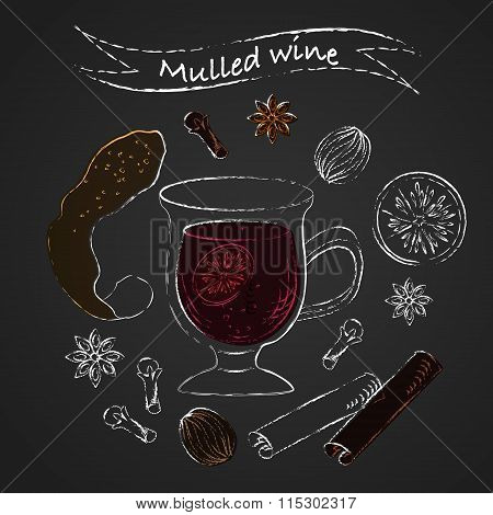 Mulled Wine Ingredients Chalk Sketch Drawing Set With Spices
