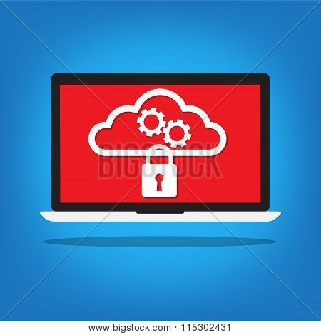 Laptop With A Key Lock On Cloud Gear On Red Desktop Background . Vector Illustration Cloud Computing
