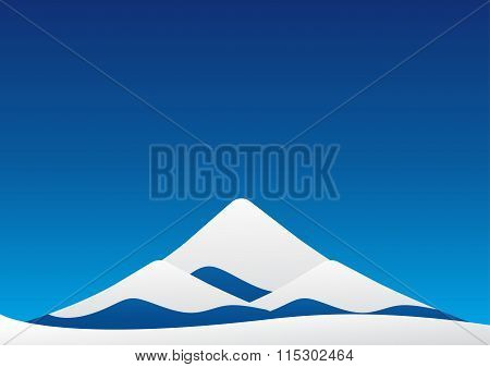 Winter Landscape Of Blue Ice Mountain With Snow Like Mt-fuji On Blue Sky Backgroud. Vector Illustrat