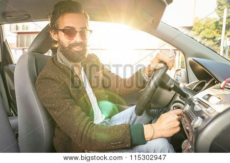 Young Hipster Fashion Model Driving Car - Young Confident Man With Beard And Alternative Mustache