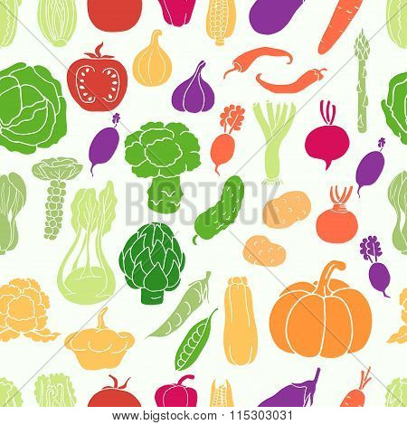 Seamless pattern with vegetables on white background