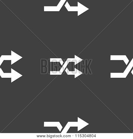 Shuffle Icon Sign. Seamless Pattern On A Gray Background.
