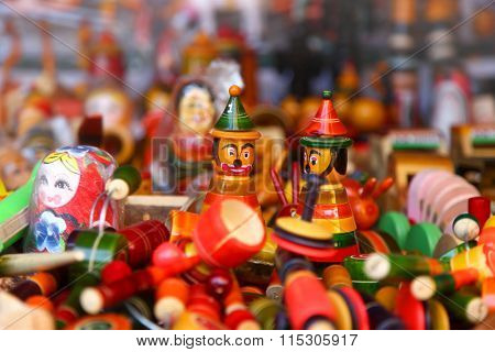 close up shot of colorful handicrafts of India
