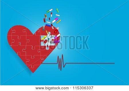 Drug Treatment Of Heart Concept Vector