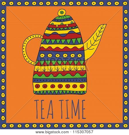 Teapot for herbal tea with bright ethnic ornaments on an orange background