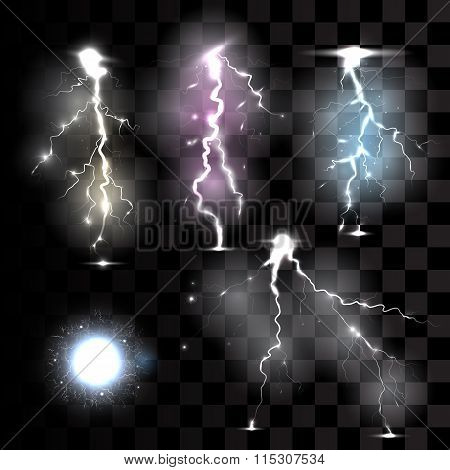 Realistic lightnings on transparent background.