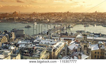 Snowy Istanbul Cityscape, Turkey