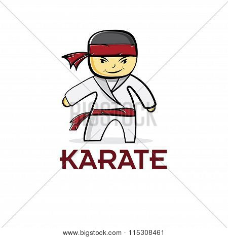 Cartoon Karate Boy Vector Illustration Design Template