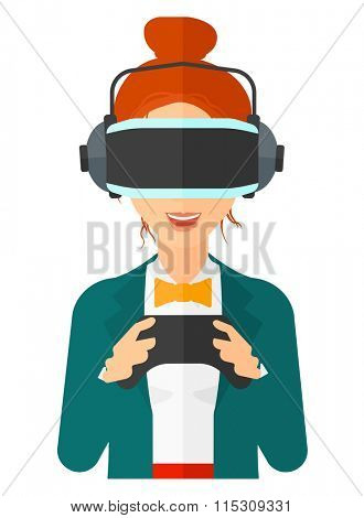 Woman wearing virtual reality headset.