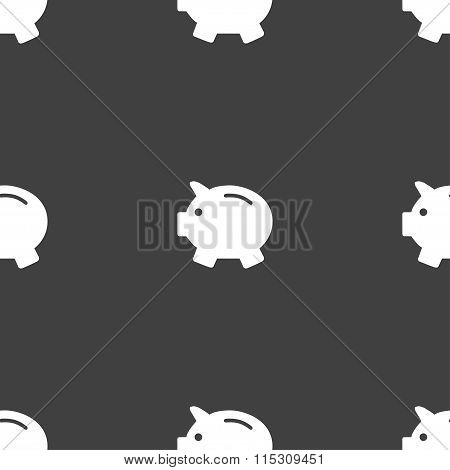Piggy Bank - Saving Money Icon Sign. Seamless