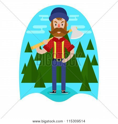 Lumberjack With Axe Design.