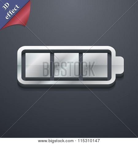 Battery Fully Charged Icon Symbol. 3D Style. Trendy,