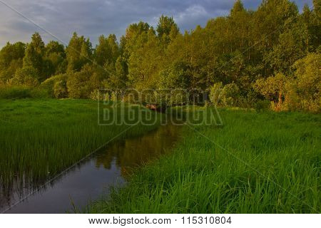 Sunset at the forest river