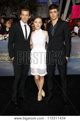 Jake Abel, Saoirse Ronan and Max Irons at the Los Angeles Premiere of