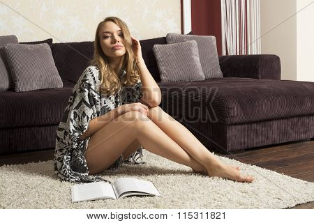 Pretty Woman On Carpet Posing