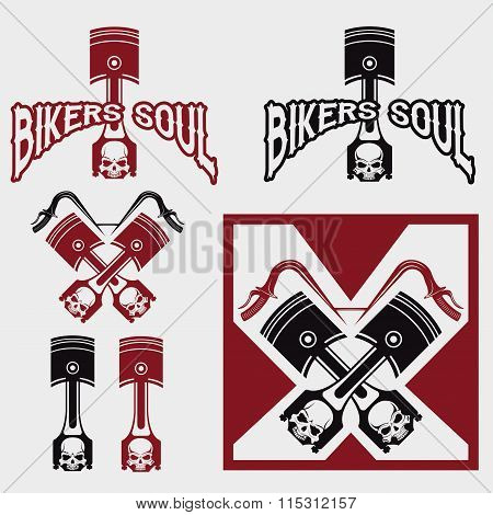 Biker Theme Labels With Pistons And Skulls