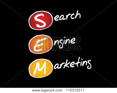 SEM Search Engine Marketing business concept acronym