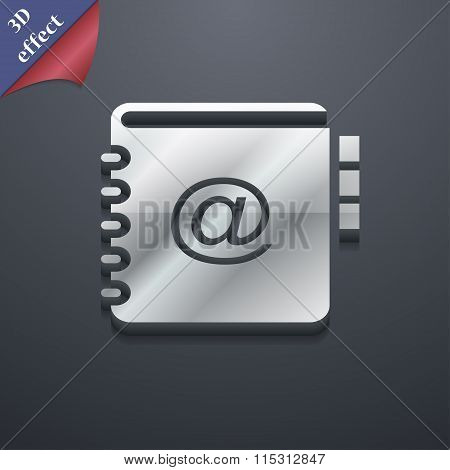 Notebook, Address, Phone Book Icon Symbol. 3D Style. Trendy, Modern Design With Space For Your