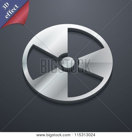 Radioactive Icon Symbol. 3D Style. Trendy, Modern Design With Space For Your Text