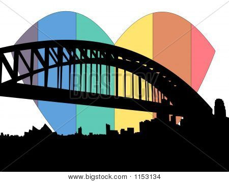 Sydney Rainbow Heart Illustration
