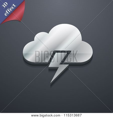 Heavy Thunderstorm Icon Symbol. 3D Style. Trendy, Modern Design With Space For Your Text
