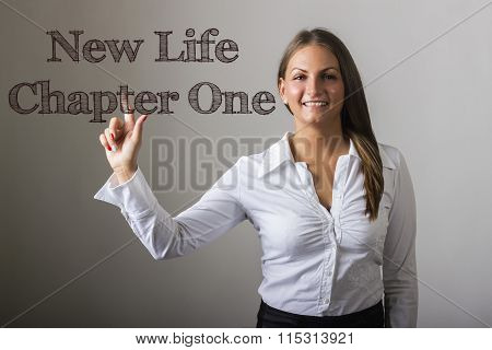 New Life Chapter One - Beautiful Girl Touching Text On Transparent Surface