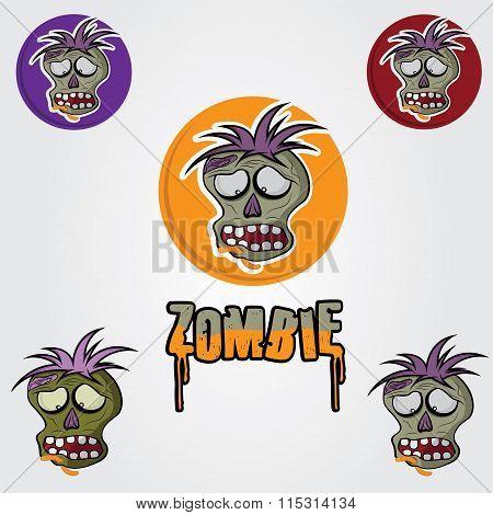 Cartoon Zombie Face Vector Design Template