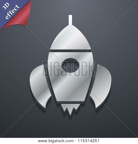 Rocket Icon Symbol. 3D Style. Trendy, Modern Design With Space For Your Text