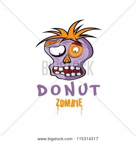 Cartoon Donut Zombie Face Vector Design Template