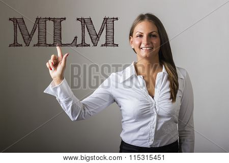 Mlm - Beautiful Girl Touching Text On Transparent Surface