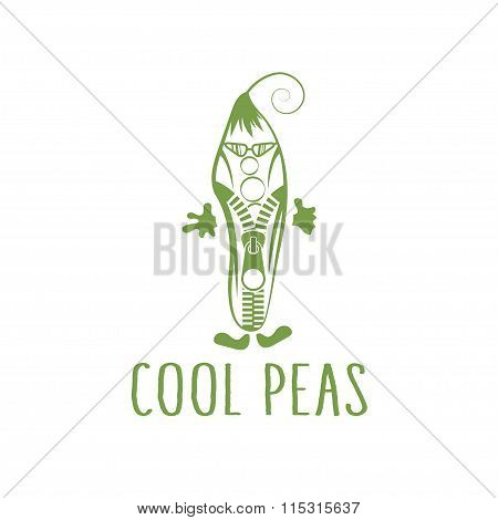 Cool Peas With Zipper In Sunglasses Vegetarian Concept