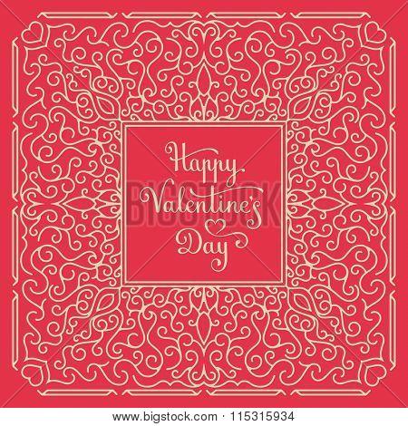 Happy Valentine's Day Card. Handwritten lettering. Vector illustration