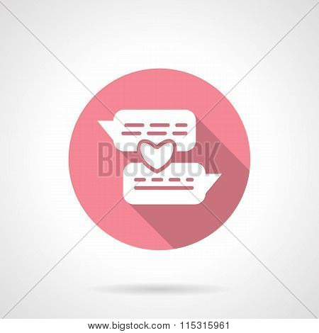 Romantic conversation round pink vector icon
