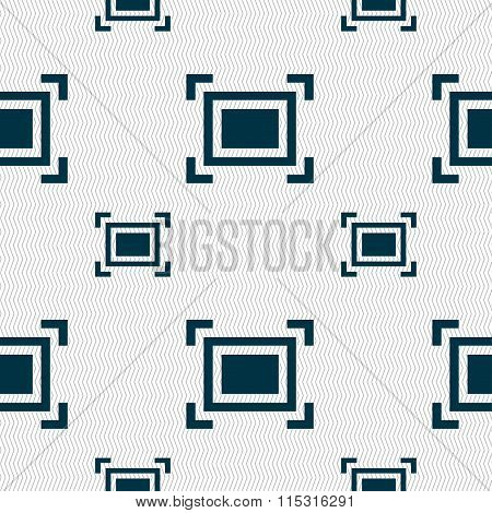 Crops And Registration Marks Icon Sign. Seamless Pattern With Geometric Texture.