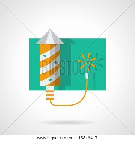 Fireworks yellow rocket flat color vector icon
